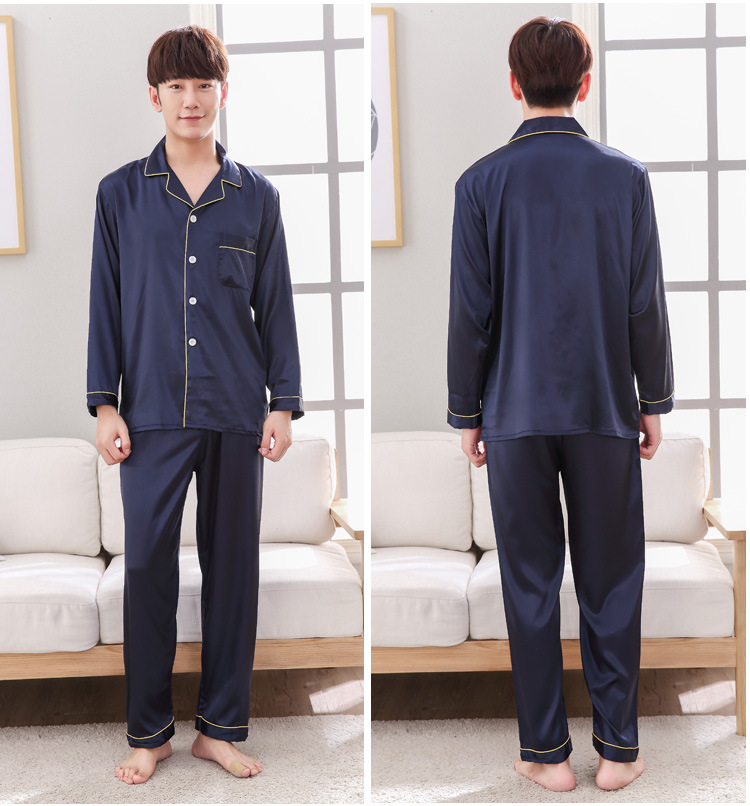 Navy Blue Mens Nightwear 2pc Shirt Pants Sleep Pajamas Sets Sleepwear Spring Autumn Rayon Silk Nightgown Robe Clothes L - XXXL