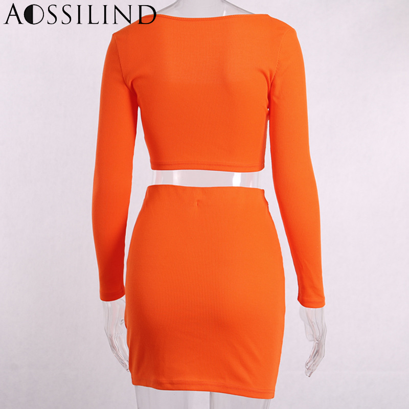 AOSSILIND Sexy Bodycon Two Piece Set Dress Women Off Shoulder Long Sleeve Mini Buttons Dress 2019 Spring Summer Party Club Dress in Dresses from Women 39 s Clothing