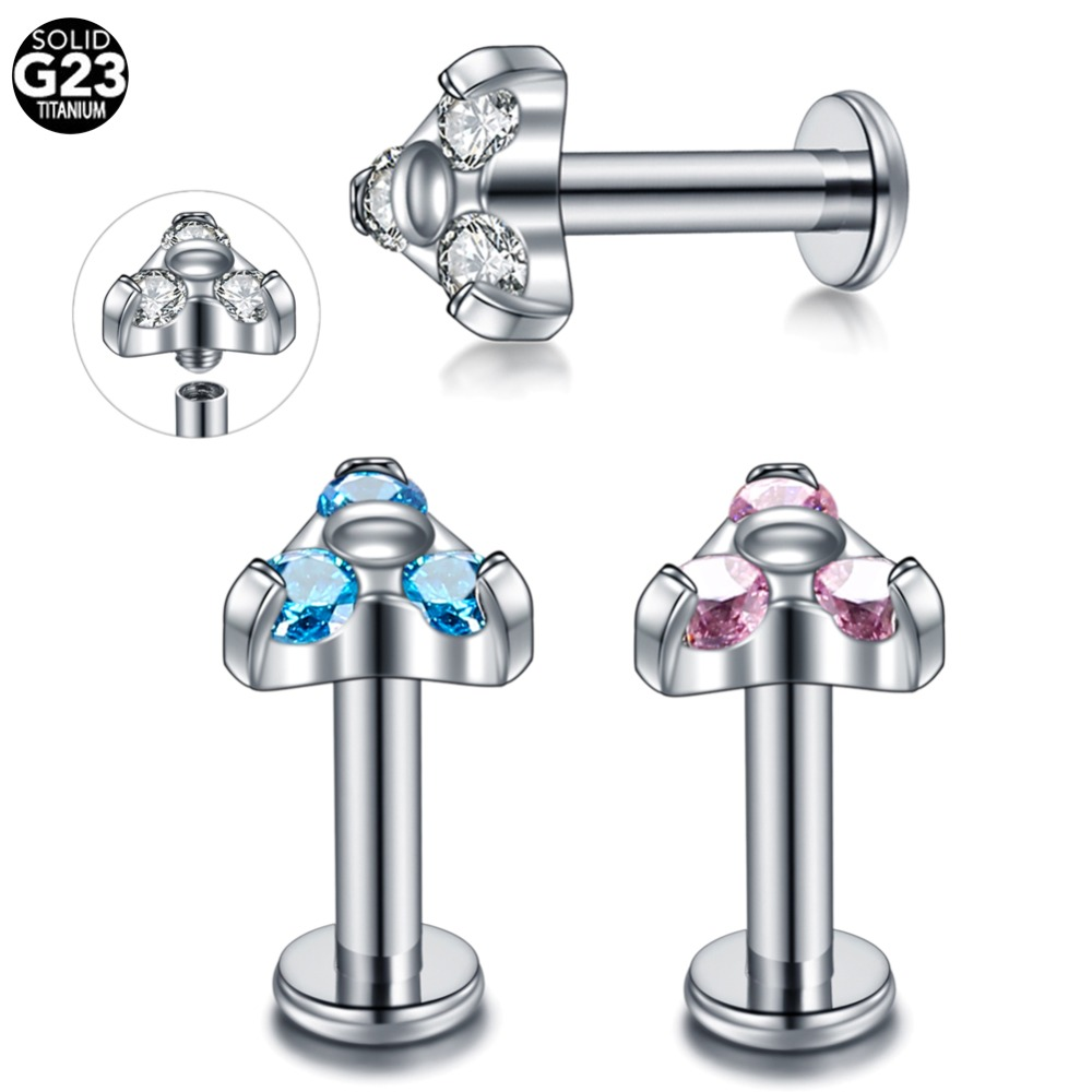 1PC Titanium 5mm Top Labret Piercing Internally Thread Helix Cartilage Tragus Earing Lip Stud Piercing Oreja Orelha Body Jewelry in Body Jewelry from Jewelry Accessories