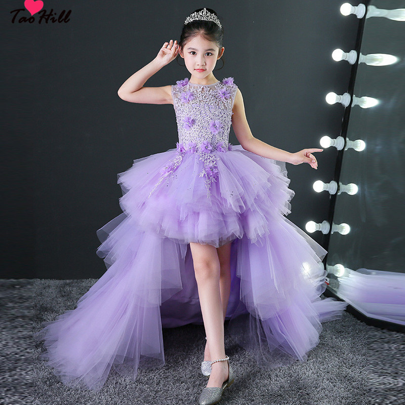TaoHill Little   Girls     Flower     Girl     Dresses   Purple Tulle Gown O-neck Applique Detachable Train   Flower     Girl   Junior Bridesmaid   Dress