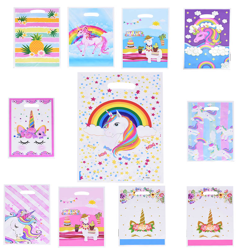 10/20pcs Unicorn Alpaca Plastic Bag Rainbow Star Candy Bag For Wedding Birthday Party Decor Kids Favor Gift Packaging Supplies 7