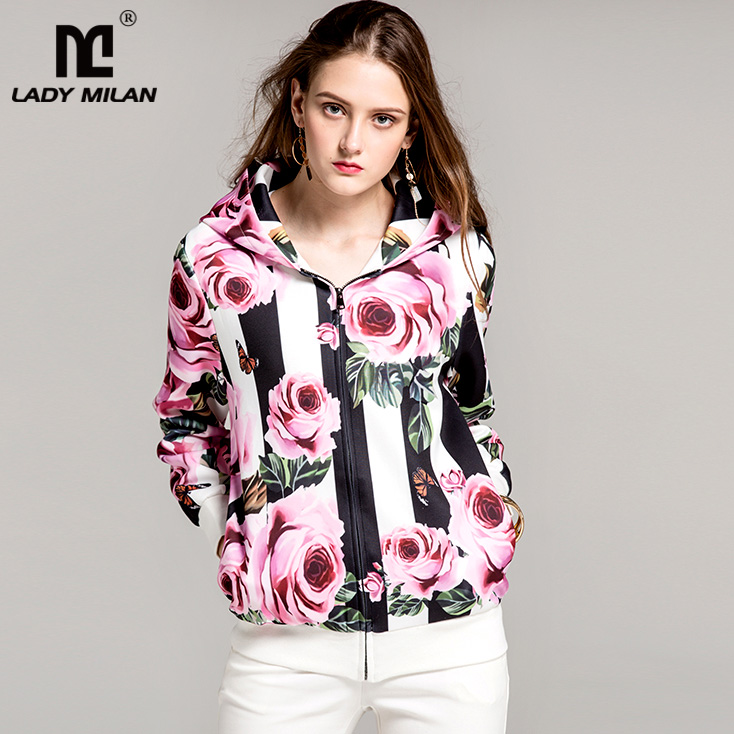 New Arrival 2018 Spring Womens Long Sleeves Floral Printed Zipper Closure Hooded Collar Fashion Striped Jackets Outerwear