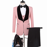 Pink man blazer as Wedding Suit Pink Groom Tuxedos for Man clothes Printed Groomsman Suit Custom Made Man Suit Jacket+pants+vest