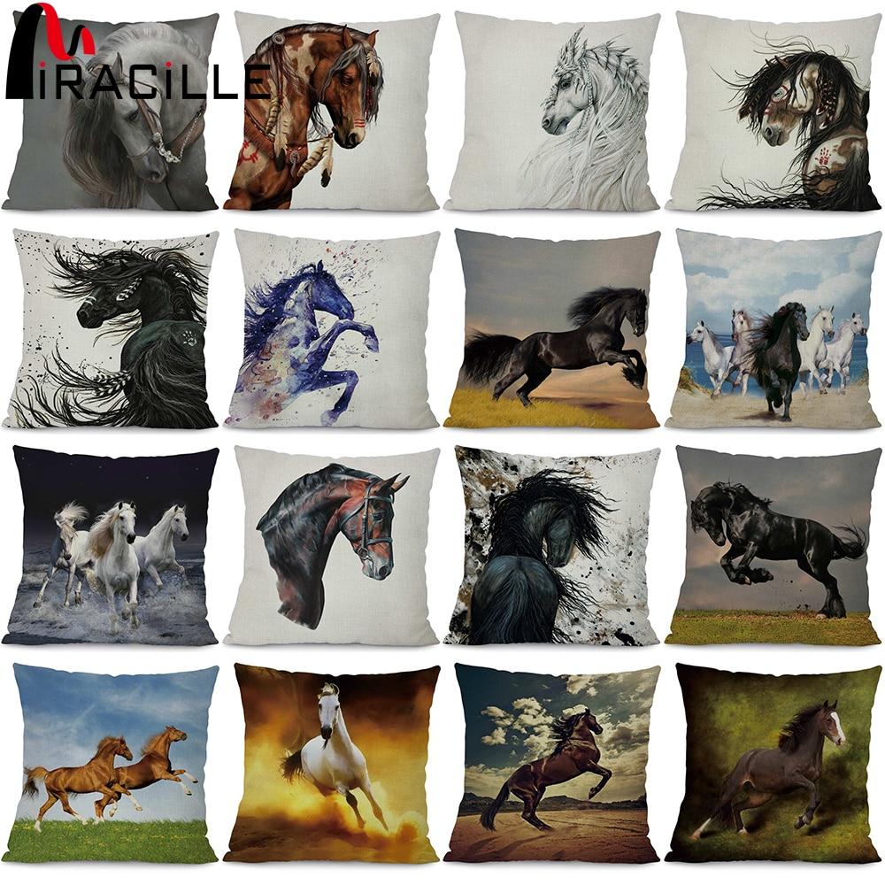 ⑤Miracille Lino Correr caballo Fundas de colchón animales salvajes ...