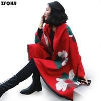 ZFQHJJ 2017 New Designer Scarf High Quality Women Winter Floral Pashmina Cashmere Scarf Poncho Scarves Shawl Warm Blanket Stoles