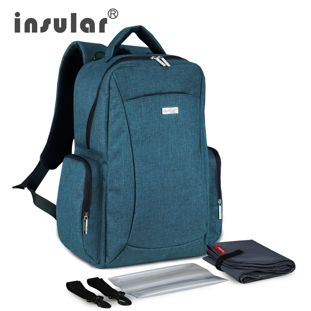 ФОТО Insular Multifunctional Large Capacity Baby Diaper Bag Backpack Mommy Bag Nappy Bag Backpack Include Plastic Napkin Box