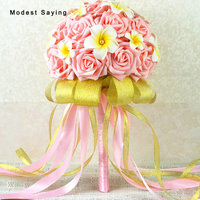 Gold and Pink Artificial flowers Pearls Wedding Bouquets 2017 Plastic Roses Romantic Wedding Brooch Bouquets Wedding Accessies