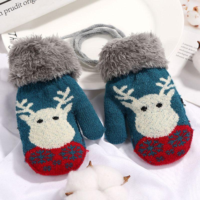 Children Kids Winter Double Layer Thicken Gloves Cute Reindeer Printed Jacquard Knit Mittens Fluffy Plush Cuffed Wrist Warmer