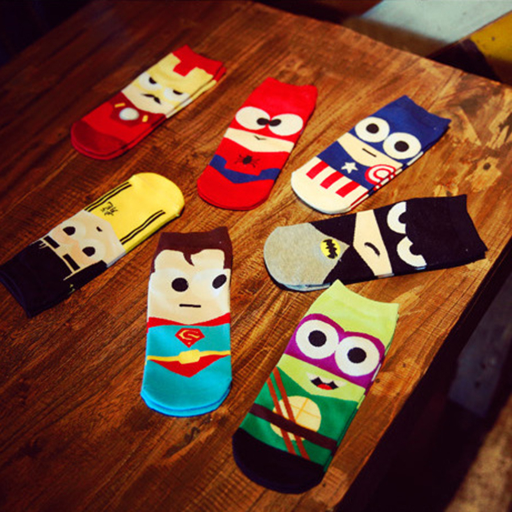 Brand new Super Hero Cartoon Man   Sock   Ankle Cotton   Socks   Men Boat   Sock   Harajuku 7 colors