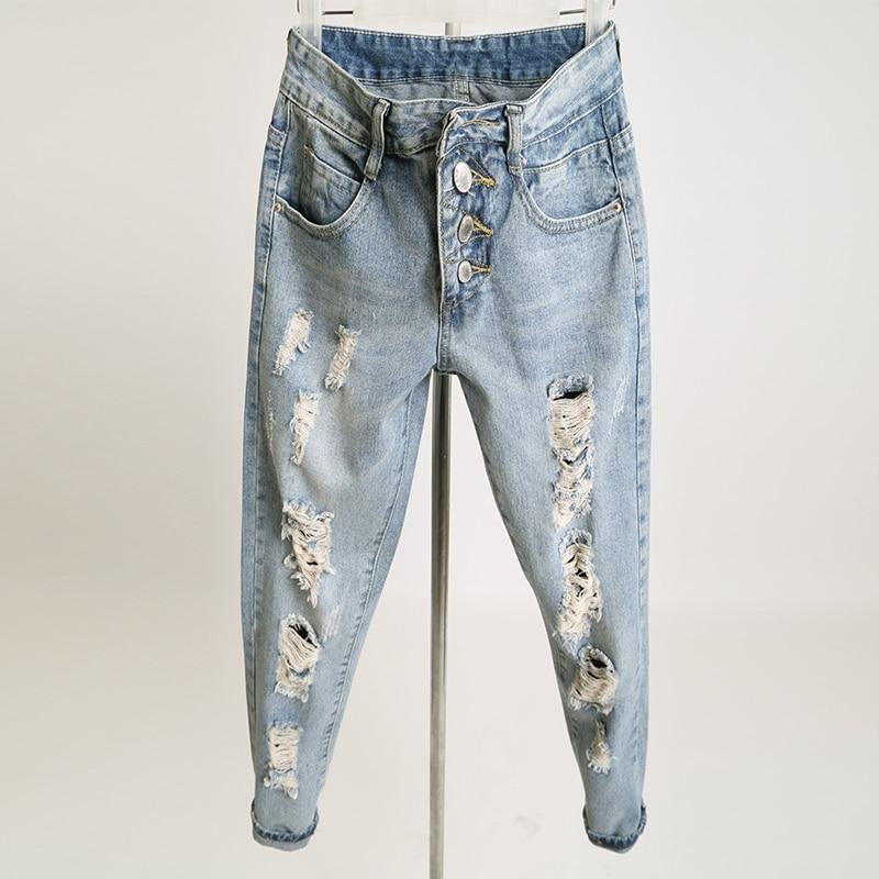 2016 Autumn Ripped Jeans for Women Hole Loose Pencil Pants Vintage Boyfriend Femme