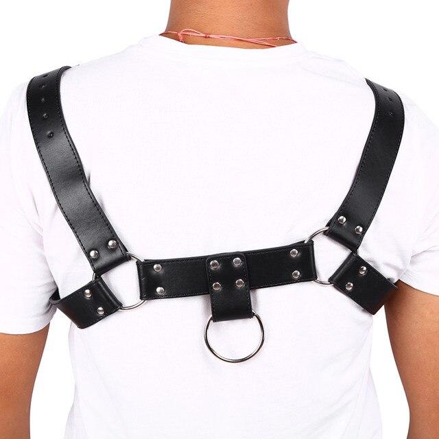 ESTINK MenLeather Belt Chest Harness Gay Buckles Chest Harness Gay Clubwear Fetish Costume Bondage Belt Adult Game Sex Toy
