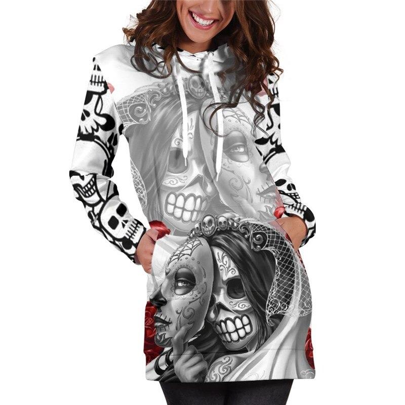 3D Hoodies Frauen Geschmolzen Weihnachten Schädel Voll Drucken Neuheit Hoody Sweatshirt Pullover Trainingsanzüge Streetwear Harajuku Tops Hipster