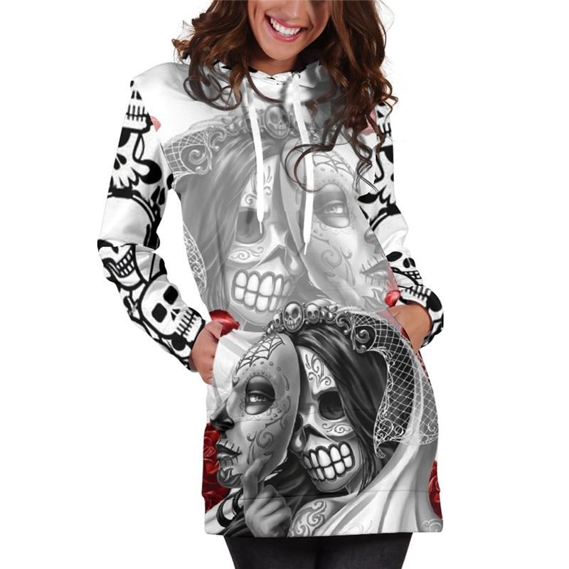 3D sudaderas con capucha de las mujeres se derritió Navidad cráneo lleno imprimir novedad Sudadera con capucha Jersey chándales Streetwear Harajuku Tops Hipster
