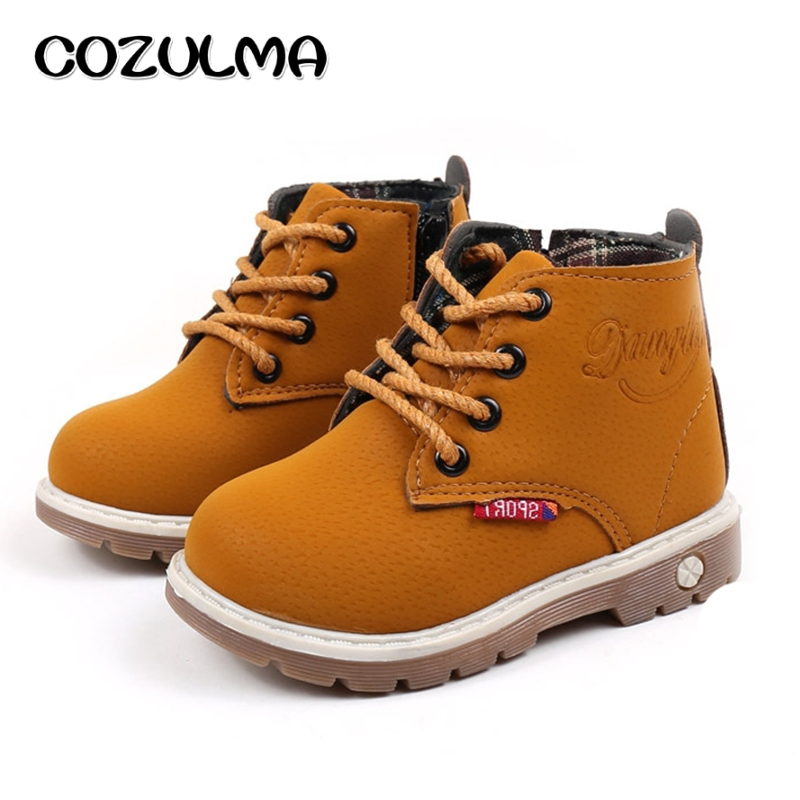 Cozulma Autumn Winter Toddler Kids Sneakers Girls Boys Martin Boots Girls Leather Sneakers Lace-up Child Shoes For Boys Girls
