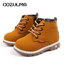 COZULMA Autumn Winter Toddler Kids Sneakers Girls Boys Martin Boots Leather Lace-Up Child Shoes For