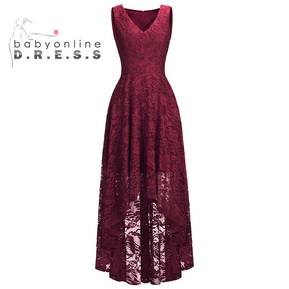 Sleeveless A-Line Burgundy Hi-Low Short Lace   Evening     Dresses   2019 Plus Size Formal Women   Dresses   With Sash Gala Jurken