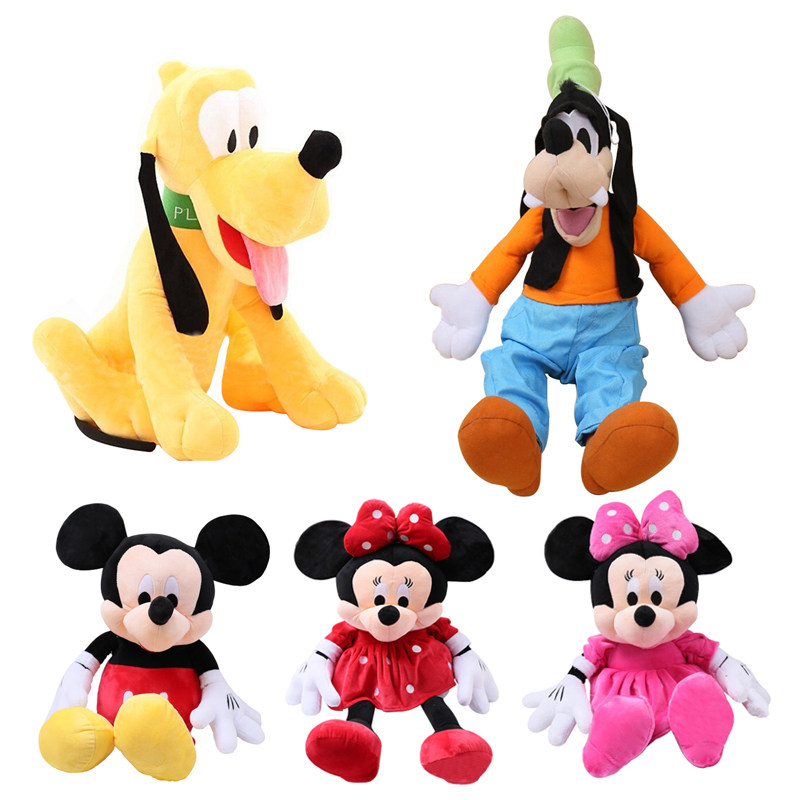 цена на 5 Styles 30cm Mickey Mouse Minnie Plush Toys Cute Goofy Dog Pluto Dog Kawaii Stuffed Toys Cartoon Figure KidsChildren Gift