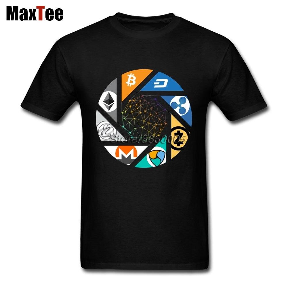 Cryptocurrency Bitcoin Litecoin Nem Dash Monero Zcash Ethereum Ripple Tee Shirt Men Homme Short Sleeve Custom 3XL Tee Shirts