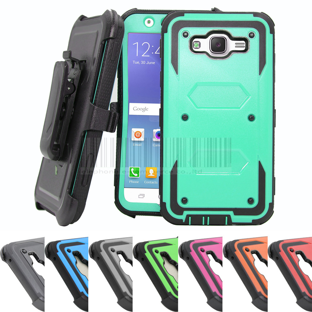 Heavy Duty Hybrid Armor Case Holster With Belt Clip Anti Shock Impact Protective Cover For Samsung Galaxy J7 2015 J700H J700F