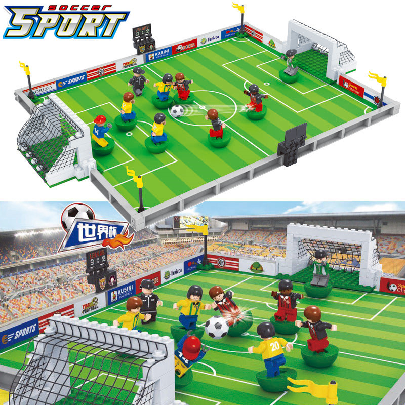 2019 NEW World Soccer City Football Field Fit Bricks LegoINGLY Soccer Figures Model Building Blocks Kids Gift Winning Cup Toys