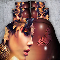 Morden Sexy Girl 3d Butterfly Leaf Print Bedding Sets 4 3PC Duvet Cover Single Queen King