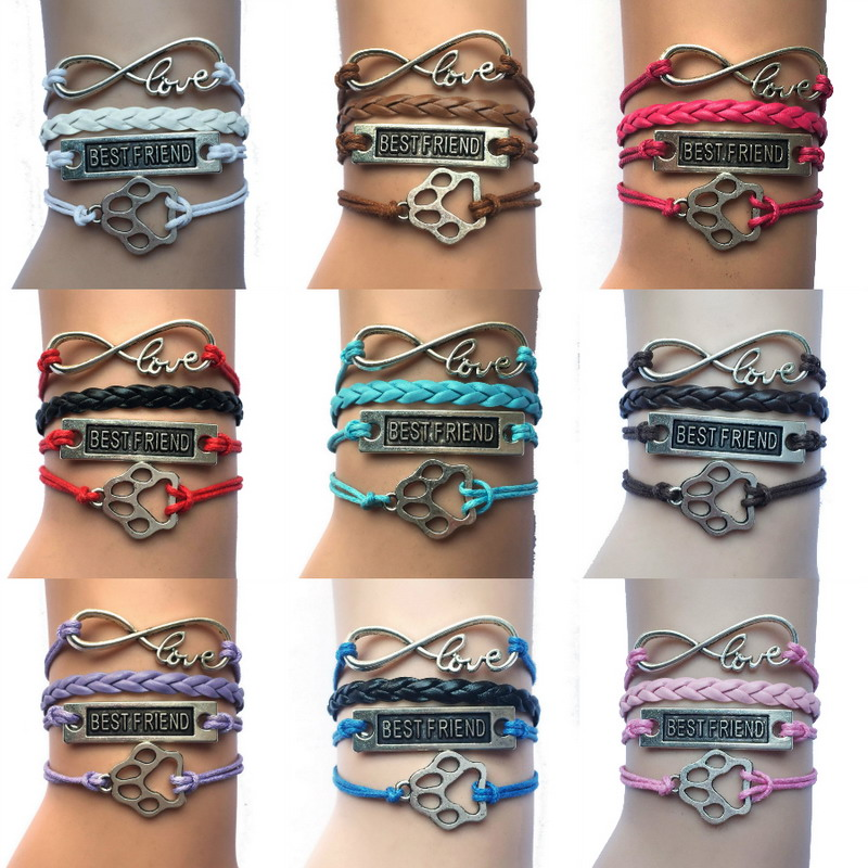 (10pcs/Lot) 11 Colors Mixed Handmade Leather Wrap Infinity Love/Best Friend/PAW Charm WRAP Bracelet For Dog Cat Puppy Love Gift