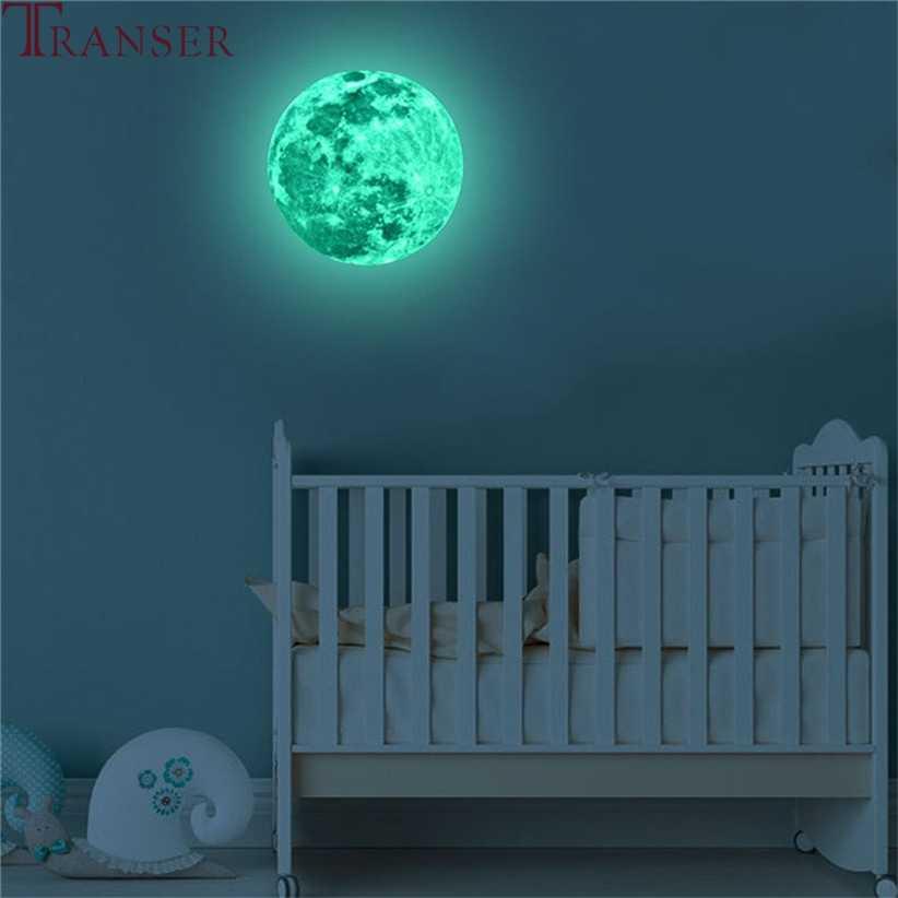 20cm Luna luminosa tierra dibujos animados DIY 3D pegatinas de pared para habitación de niños dormitorio brillo en la pared oscura decoración del hogar sala de estar