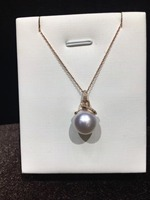 12 12.5MM natural southsea pearl pendant 18K rose gold with diamond luxury genuine jewelry birthday gift every day wear