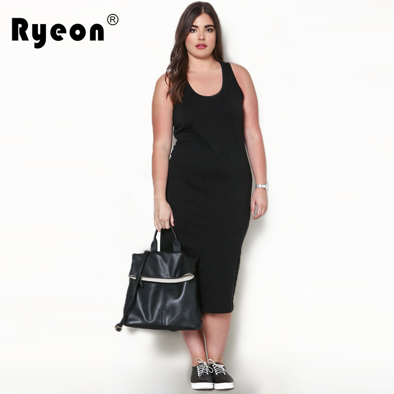 83c2cfa03013 Ryeon Summer Sundress 2017 Dresses Big Sizes Sexy Casual Black Navy Plus  Size Vintage Women Long Large Size Ladies Dress Vestido-in Dresses from  Women's ...