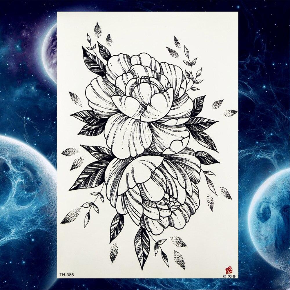 YURAN Temporary Tattoo Stickers Women Body Art Painting Flash Flower Tatoos Girls Black Wolf Arm Waterproof Neck Tattoo Supplies 3