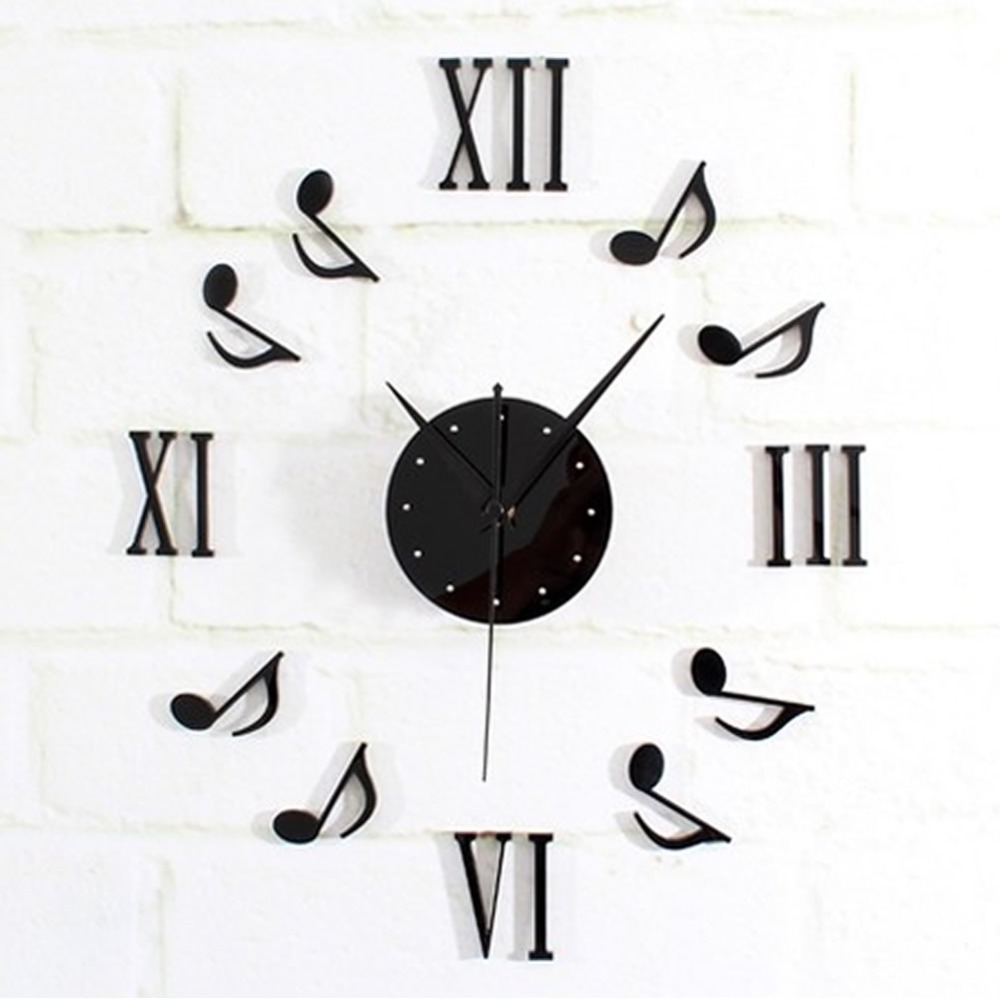 Modern Black DIY Music Notes Mirror Style Wall Clock Sticker Mirror Surface Wall Stickers Home Office Decor C42