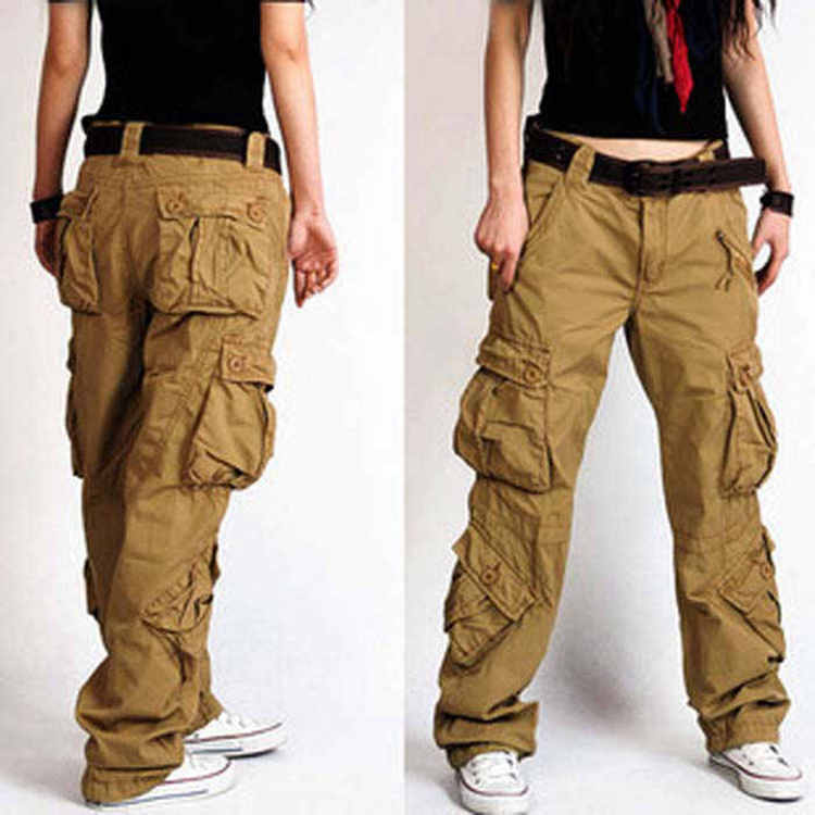 Baggy Pants 5 colors 2018 New Arrival Plus Size Cargo Pants Thick overalls pockets Hip Hop Women Hip Hop Loose Jeans khaki S50-in Pants & Capris from Women's Clothing    2
