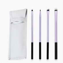 4pcs Pro Eye Shadow Makeup Brushes Set Eyeliner Eyeshadow Eyebrow Lips Brushes With Leather Travel Pouch Bag Case Holder