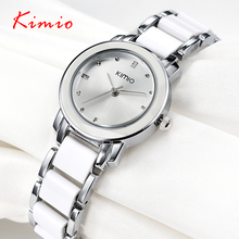 Marca Kimio 2016 Señoras de Imitación Reloj de Cerámica de Lujo Relojes de Pulsera de Oro con Correa De Aleación Fina Mujeres Viste el Reloj
