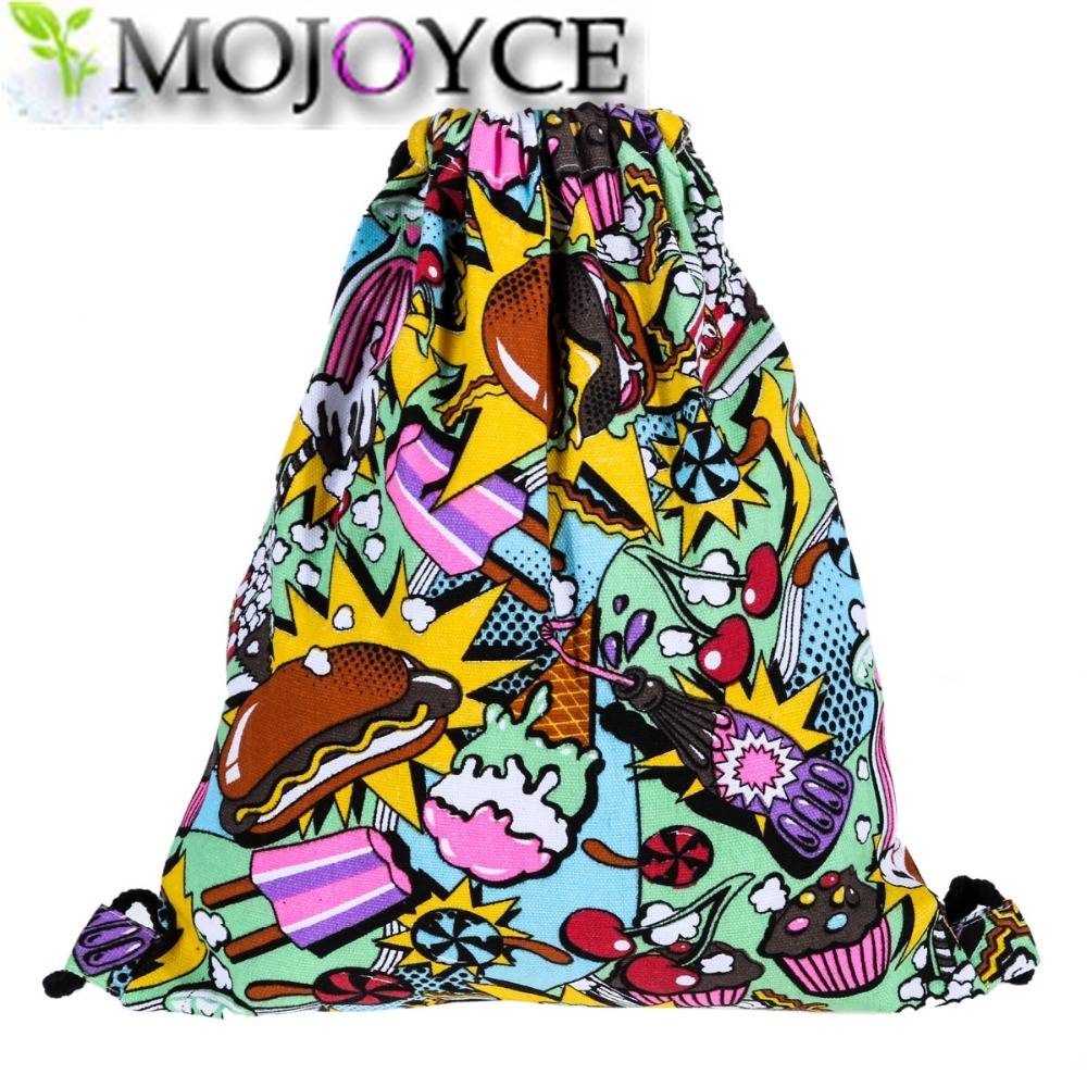 National Women Drawstring Bags Canvas Sack Bag Pack Striped Icecream Backpack College Students Rucksack 2 Top Sell Style Mochila drawstring bags