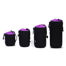 High quality Black 4PCS Photo Protective Soft DSLR Camera Lens Pouch Protector Bag Soft Short Case Bags Set