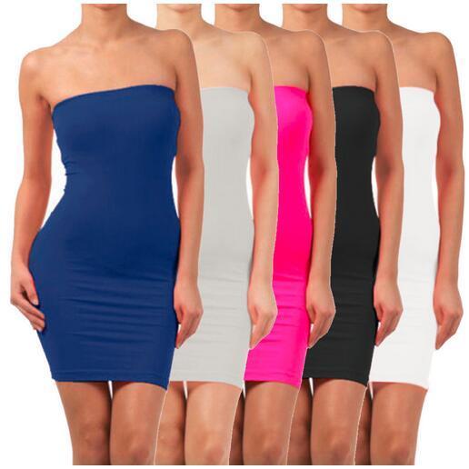 Mujeres inconsútil atractivo sin tirantes dress fuera del hombro delgado stretch