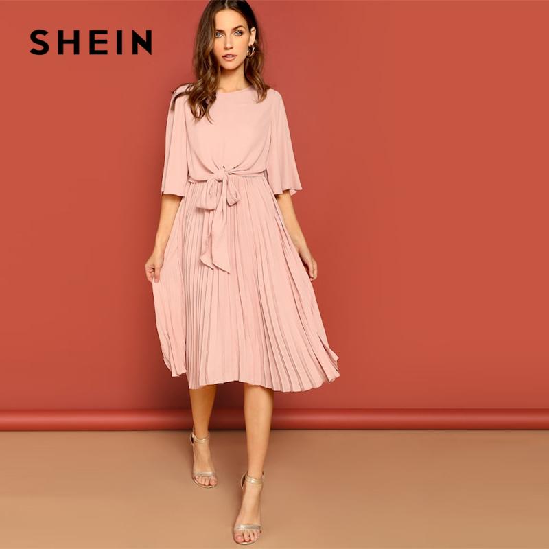 SHEIN Pink Knot Front Zip Bell Sleeve Round Neck Solid Plain Dress Spring Women Three Quarter Length Sleeve Solid Dresses