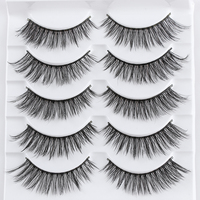 5 Pairs Handmade 3D Faux Mink Hair Lashes Natural Thick Cross Eyelash Soft  Wispy Volume False Eyelashes Extension Makeup Tools False Eyelashes