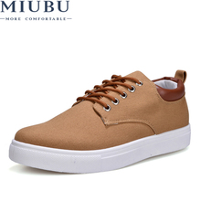 MIUBU Canvas Shoes Men Casual 2019 Spring Autumn Sneakers Lace Up Comfortable Big Size 47 Handmade Moccasins