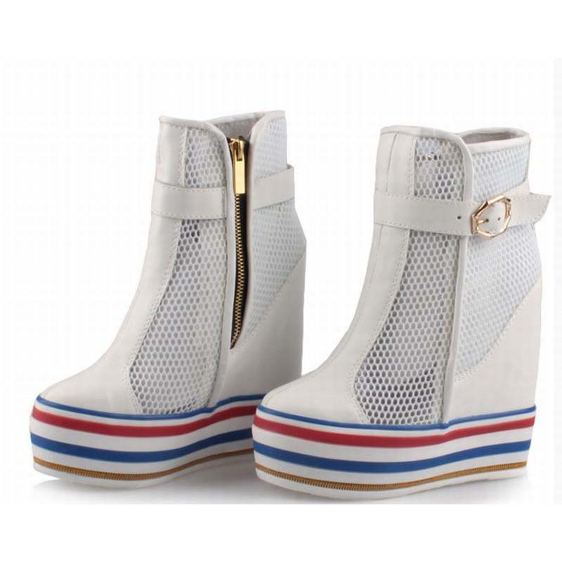 Womens Boots Elevator Hidden Wedges Breathable Mesh Ankle Booties Women High Platform Height Increasing Shoes Buckle Cool Boot fashion women elevator candy color breathable canvas high platform denim lace up casual shoes height increasing wedges shoes