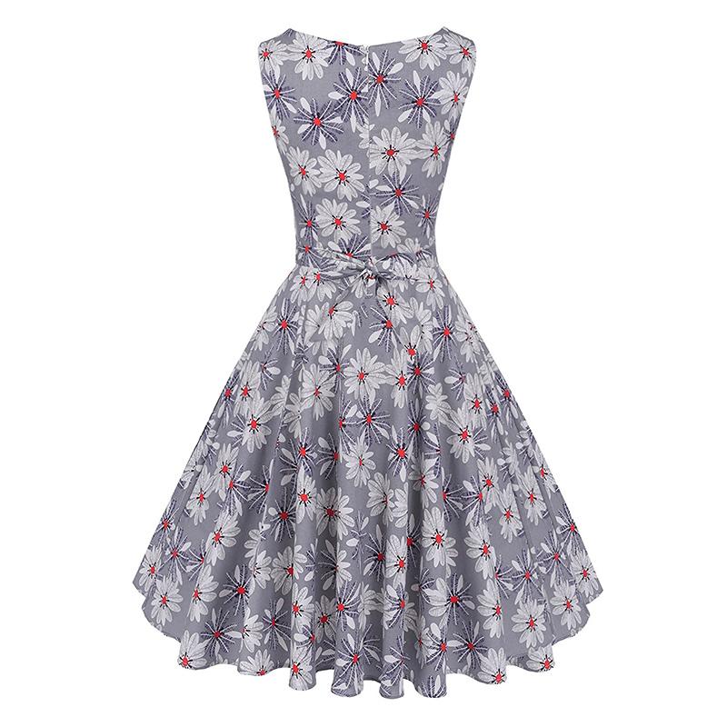 Kostlish Cotton Summer Dress Women 2017 Sleeveless Tunic 50s Vintage Dress Belt Elegant Print Rockabilly Party Dresses Sundress (62)