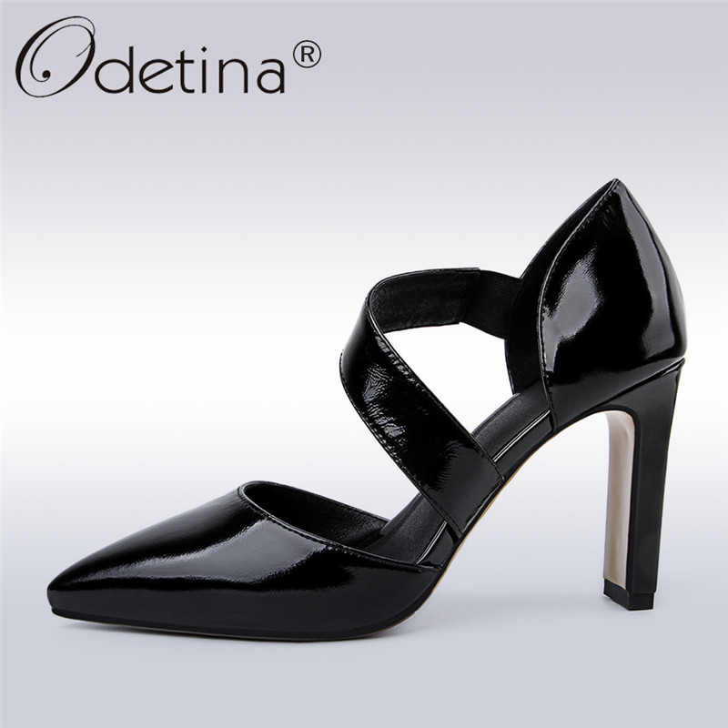 Odetina 2018 New Fashion Women's Pumps High Heels Pointed Toe Slip on Thick Heels Sexy Ladies Party Dress Shoes Patent Leather