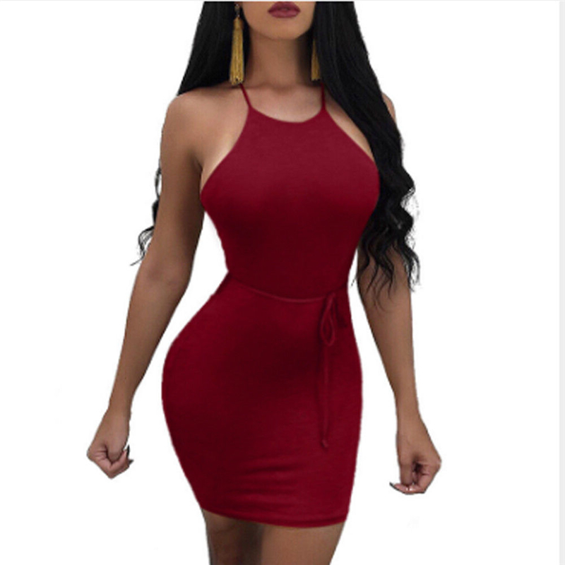 New Fashion Women Sexy Bandage Mini Dress Backless High Waist Ladies Hot Club Wear Party Evening Bodycon Dress