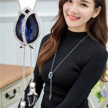 Zircon Long Necklace for Women Fashion Silver Color Crystal Maxi Necklaces & Pendants