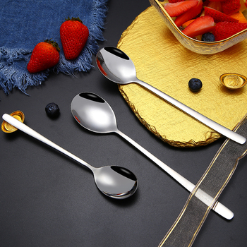 5/10pcs/set 304 Stainless Steel Korean Spoons With Long Handle Soup Spoons Dinner Spoons Rice/Salad Adult Children Tableware