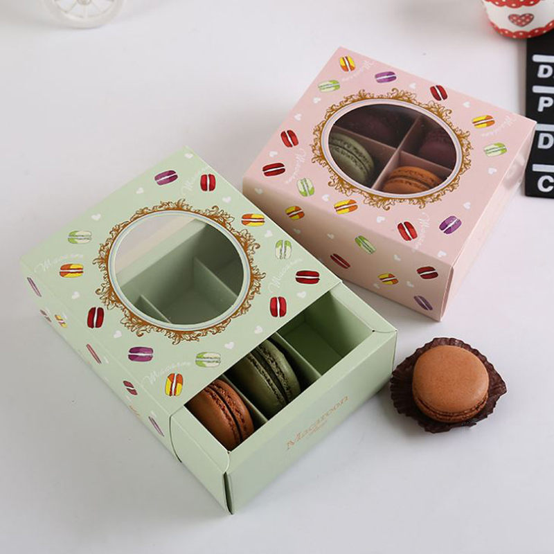Square 4 cavities Macarons Boxes , Biscuits Box 10pcs/lot cookie packaging boxes paper boxes with windows