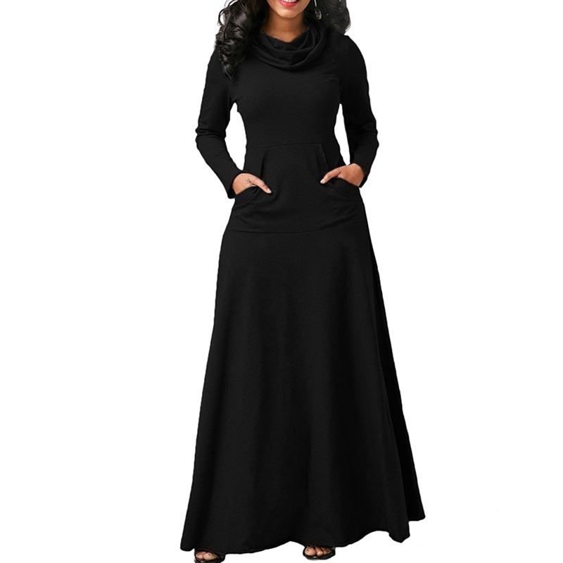 Women Maxi Dress With Pocket Casual Solid Long Sleeve Vintage Long Dress Bow Neck Elegant Warm Long Dress Robe Female Vestidos