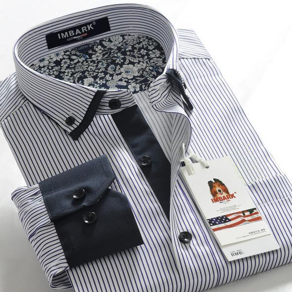 new arrival stripe patchwork men's obese super large long-sleeve fashion shirt plus size 5XL 6XL 7XL 8XL 9XL 10XL