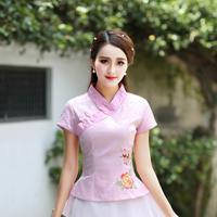 Women Business Embroidery Flower Shirt Summer Lady Short Sleeve Clothing Vintage Improved Elegant Tang Top Size S M L XL XXL